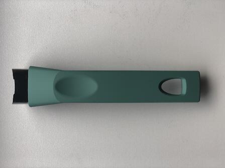 sage green handle sample in soft touch finish by la termoplastic fbm