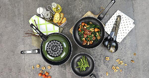 enameled cookware set of pot and pan handle by la termoplastic fbm